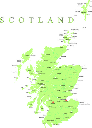 Scotland map part of the United Kingdom. Vettoriali