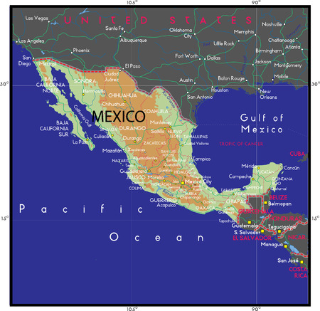 Mexico map Vector Иллюстрация