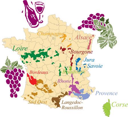Mapa francuski wina. Ilustracje wektorowe