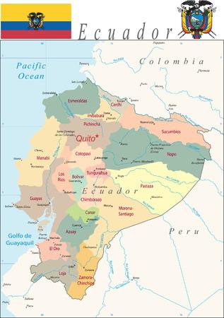 Ecuador Map with district ans major cities.