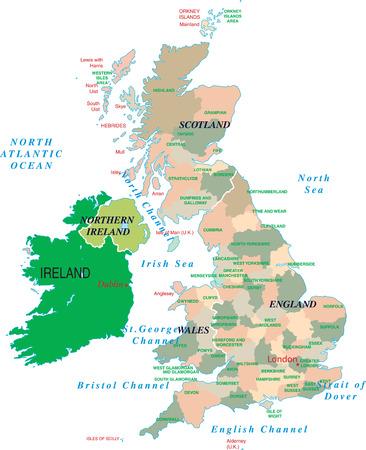 英国マップに孤立した白い背景ベクトル
