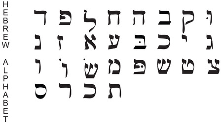 hebrew alphabet (vector) Vettoriali