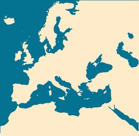 파란색 배경에 고립 된 빈 유럽지도입니다.