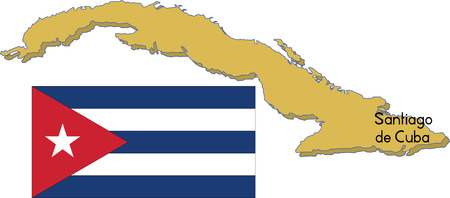 Cuba Map with flag.