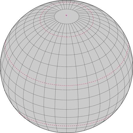 Wireframe globe.