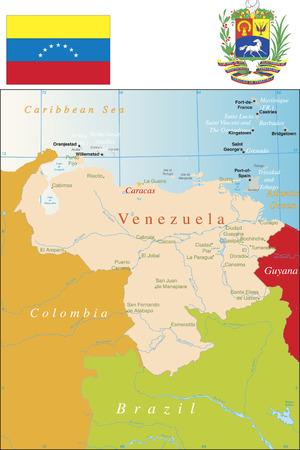Venezuela, major cities and boundaries.