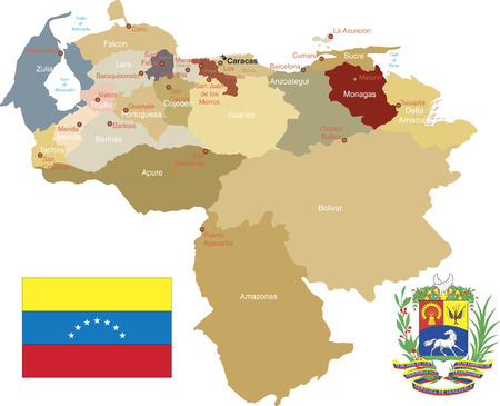 Venezuela, States and capitals. Stock Illustratie