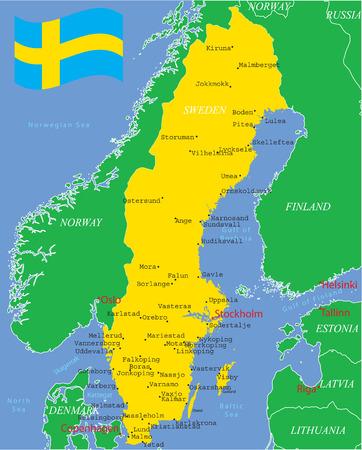 スウェーデンの主要都市と地図。  イラスト・ベクター素材