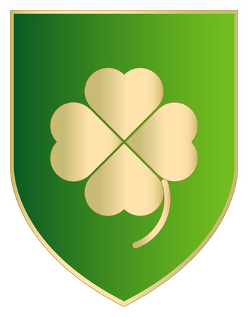Gold Clover background with coat of arm.