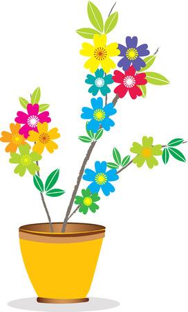 Flowers in pot. Illustration