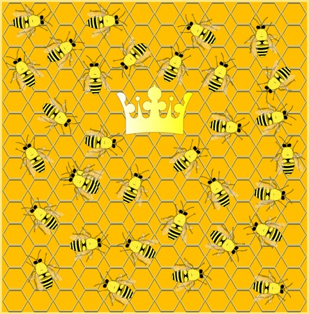 Busy hive. Illustration