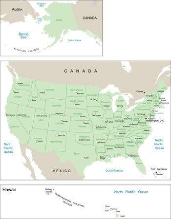 Kaart van de Verenigde Staten.