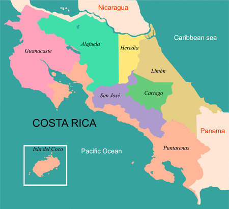 Map of the Republic of Costa Rica with the provinces colored and boudaries