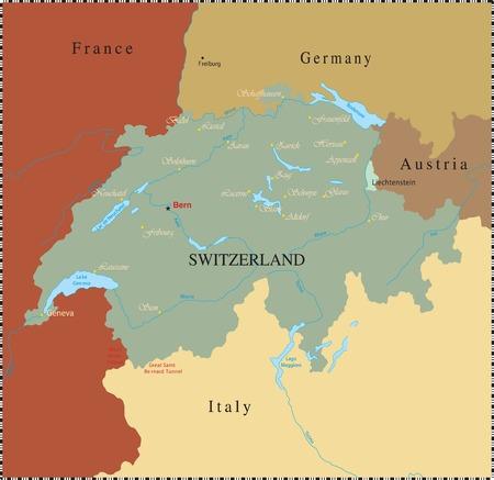 Swiss map with major cyties.