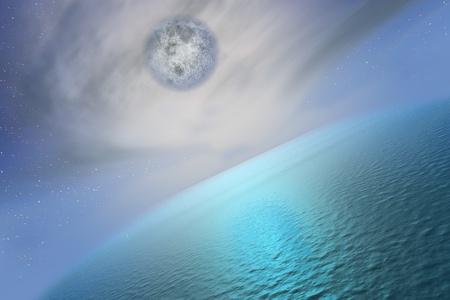 La pleine lune supérieure la mer.