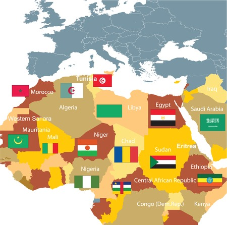 North Africa and flags on white background,