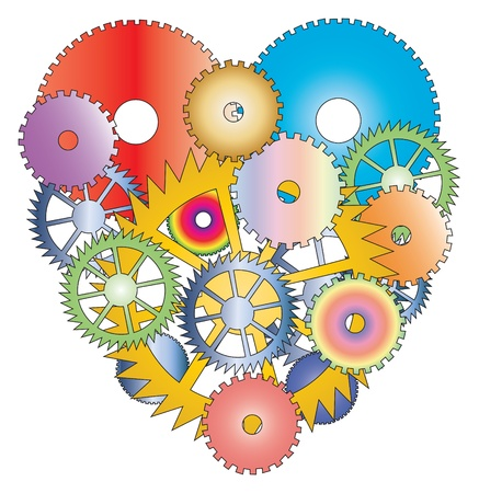 Heart made with different cogwheels on white background..