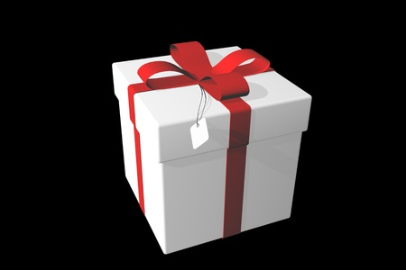 White gift box over black background 3d illustration. Archivio Fotografico