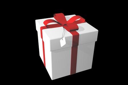 White gift box over black background 3d illustration. Stockfoto