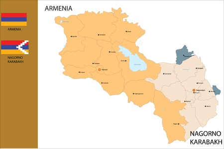 플래그 아르메니아 국가와 나고 르노 카라 바흐의 정치지도.