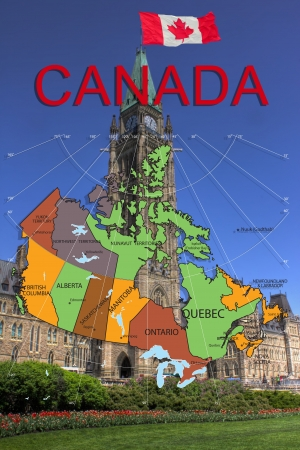 Map and Parliament of Canada  Imagens