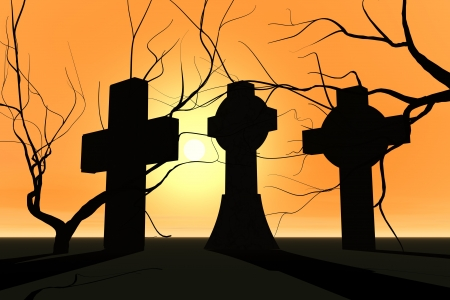 Graveyard in sunset and tree silhouette
