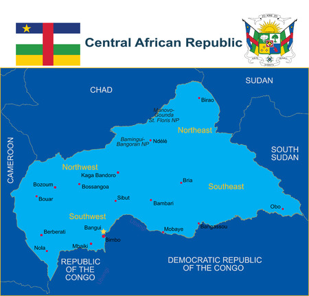 Central African Republic map with flag and coat of arm