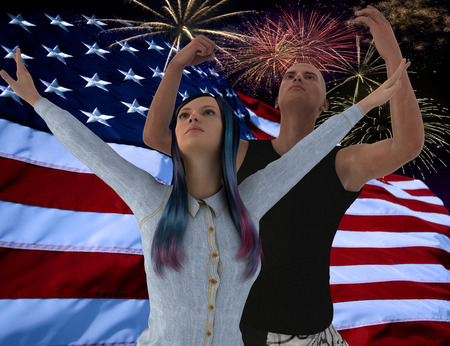 united stated:   3D illustration  In front of the American flag