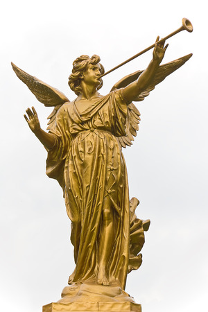 Statue of Angel and trumpet on white background. Stockfoto