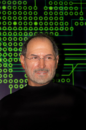 Portrait of Steve Jobs, (Waxwork ) founder of Apple company. This photo was taken at Grevin museum Montreal. It is a private museum of wax inaugurated April 17, 2013 on the 5th level of the Eaton Centre Montreal in the borough of Ville-Marie in Montreal,  Editoriali
