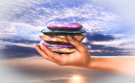Calmness, equilibrium, spiritual and concentration. 版權商用圖片