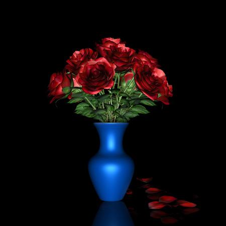 Red Rose and blue pot 版權商用圖片