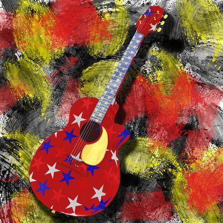 America guitar on grunge background 版權商用圖片