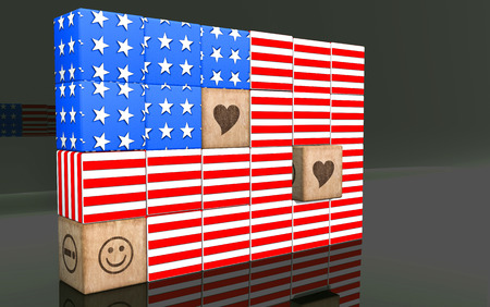 3D american flag on reflect backgroung.