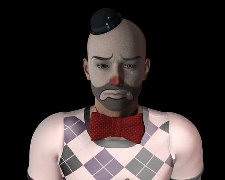 Sad clown. 3D  picture. 版權商用圖片