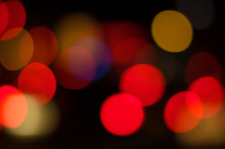 Blurred boken of car light in the city at night Stock Photo