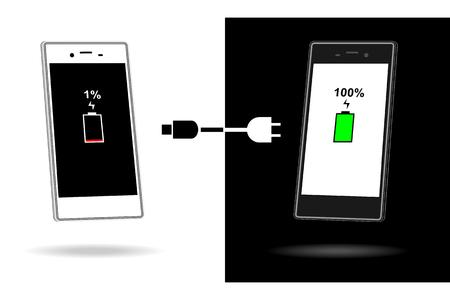 smart phone: Charger smart phone battery vector illustration Illustration