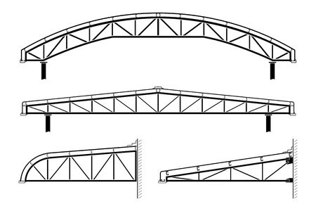 specify: Roofing building,steel frame,roof truss collection, vector illustration Illustration