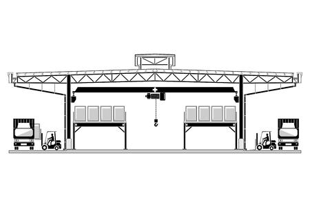 Warehouse Logistiek, dakbedekking ontwerp, opslag sectie vectorillustratie