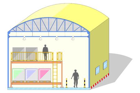 Pakhuis gevormde koepel, canvastent, opslagsectie, vectorillustratie