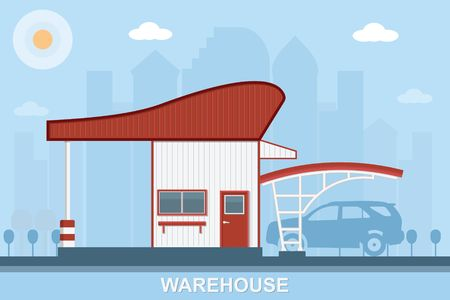elevate: Warehouse transportation in flat style vector illustration.