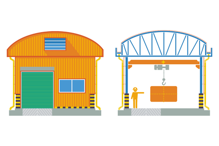 elevate: Warehouse building, cross section factory ,vector illustration Illustration
