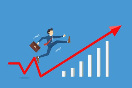 Businessman jumping to success fast. Business breakthrough success cconcep vector illustration Illustration