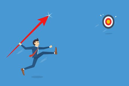 Businessman jumps throwing spear to target. Business breakthrough success concept vector illustration