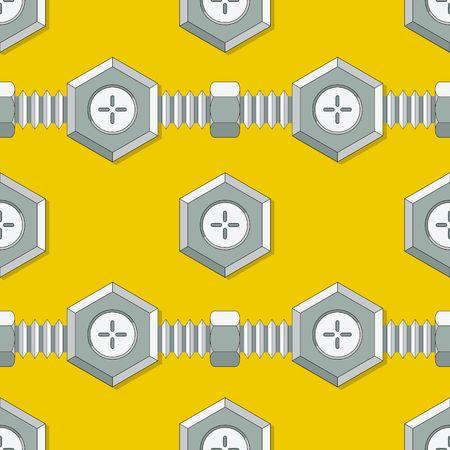 metal fastener: Symmetrical background with stud bolt vector illustration