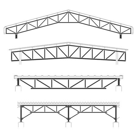 屋根の建物は、鉄骨カバー、屋根トラス セット、ベクトル イラスト