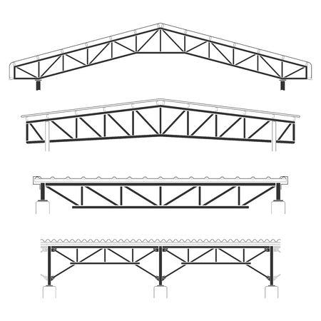 Roofing building,steel frame cover, roof truss set, vector illustration