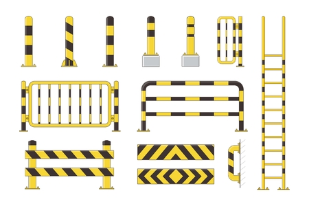 Guard post sentry yellow and black collection, icon flat column bollard set vector illustration Çizim