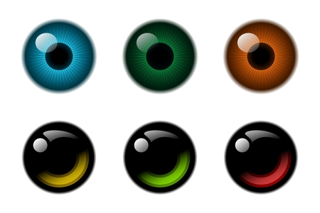 Abstract eyes reflection icon collection. Stock Photo