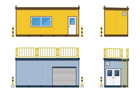 Container office construction site with container storage on white background, vector illustration. Vettoriali